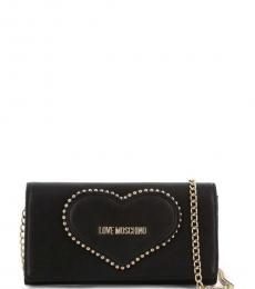 Black Studded Heart Clutch