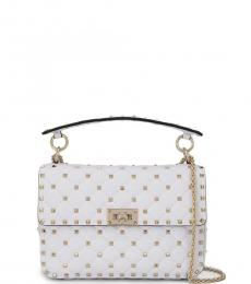 Valentino Garavani White Rockstud Spike Medium Shoulder Bag