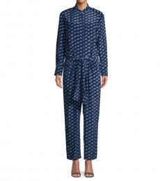 Diane Von Furstenberg Blue Geometric-Print Silk Jumpsuit