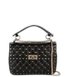 Valentino Garavani Black Rockstud Spike Medium Shoulder Bag