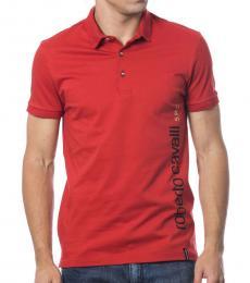 Roberto Cavalli Red Logo Solid Polo
