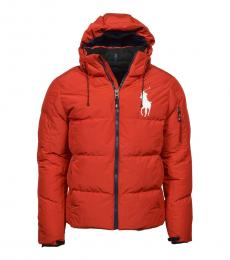Red Pony Hooded Down Puffer Jacket