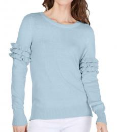 Pastel Blue Ruffled Pullover Sweater