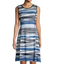 Blue Striped Crochet Dress
