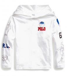 Ralph Lauren Little Boys White Polo Bear Hooded T-Shirt