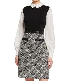 Karl Lagerfeld BlackWhite Faux Leather Waist Tweed Dress