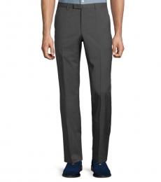 Hugo Boss Dark Grey Flat Front Wool Trousers