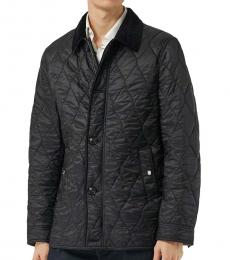 Black Quilted Logo Check Jacket