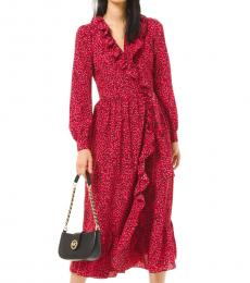 Michael Kors Red Petal Crepe Ruffled Wrap Dress