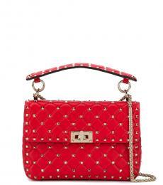 Valentino Garavani Red Rockstud Spike Medium Shoulder Bag