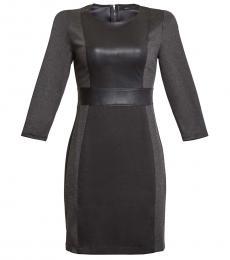 BCBGMaxazria Black Faux Leather Trim Mixed Media Mini Dress