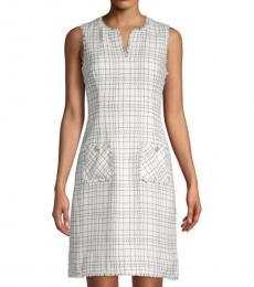 White Grid-Print Tweed Sheath Dress