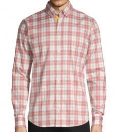 Coral Slim-Fit Plaid Shirt
