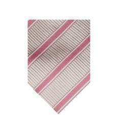Burberry Pink Timeless Stripes Silk Tie