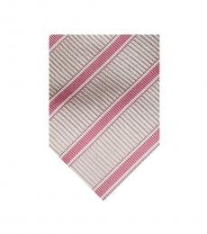 Burberry Pink Timeless Stripes Silk Tie