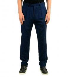 Hugo Boss Dark Blue Wool Linen Dress Pants