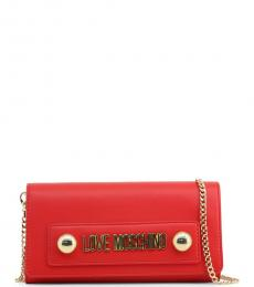 Love Moschino Red Logo Plate Clutch