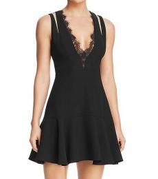 BCBGMaxazria Black Lace Trim Evening Dress