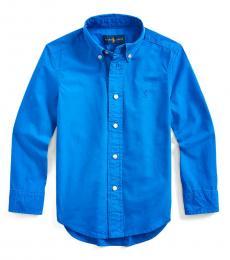 Ralph Lauren Little Boys Travel Blue Garment-Dyed Shirt
