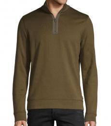 Olive Cotton-Blend Sweater