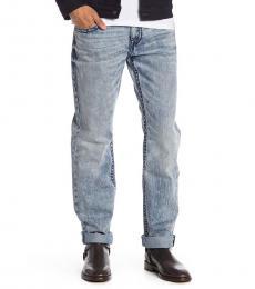 True Religion Light Blue Straight Acid Wash Jeans