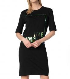 Love Moschino Black Crew Neck Logo T-Shirt Dress