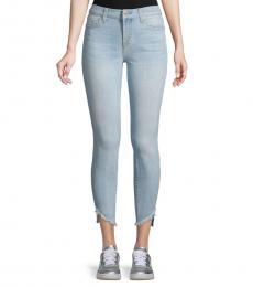 Bay Blue Frayed Ankle Skinny Jeans