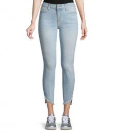 7 For All Mankind Bay Blue Frayed Ankle Skinny Jeans