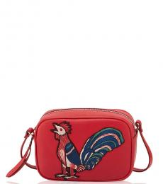 Alexander McQueen Red Embroidered Mini Crossbody