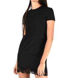 Black Lace Detail Mini Dress