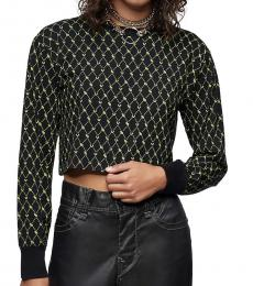 True Religion Black Monogram Print Long Sleeve Tee