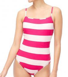 J.Crew Pink Square-Neck One-Piece Swimsuit