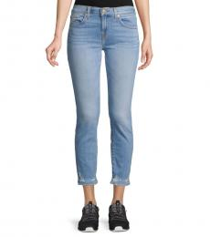 7 For All Mankind Cool Blue Roxanne Distressed Ankle Jeans