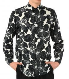 Black White Floral Printed Shirt