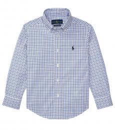 Ralph Lauren Little Boys Blue Plaid Poplin Shirt