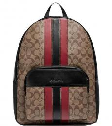 Tan Soft Red Houston Large Backpack
