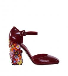 Red Lacquered Floral Heels