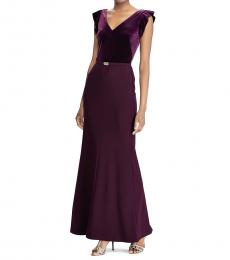 Dark Purple Velvet Bodice Gown