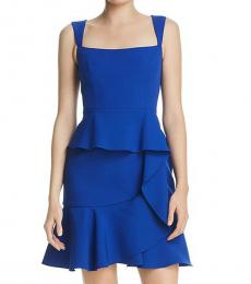 BCBGMaxazria Royal Blue Ruffled Sleeveless Cocktail Dress