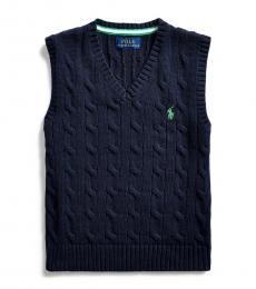 Little Boys Navy Cable-Knit Sweater Vest