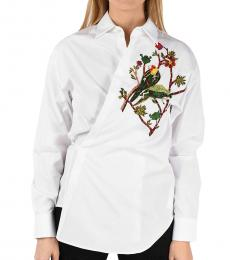 White Embroidered Wrap Shirt