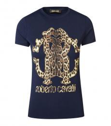 Roberto Cavalli Dark Blue Slim Fit T-Shirt
