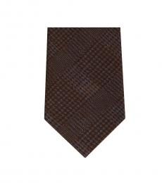 Brown Streamline Plaid Slim Silk Tie