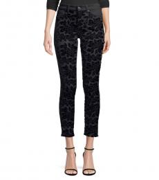 7 For All Mankind Black Floral Skinny Ankle Jeans