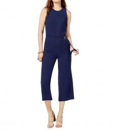 Michael Kors True Navy Cady Belted Jumpsuit