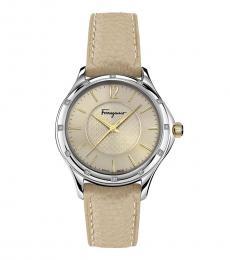 Beige Silver Tone Watch