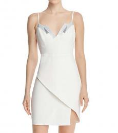 BCBGMaxazria Off White Sequined Banded Dress
