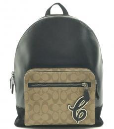 Coach Black Tan West Large Backpack