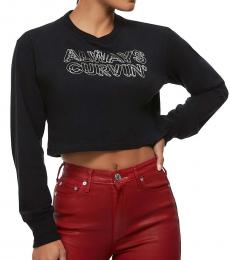 True Religion Black Graphic Crop Tee