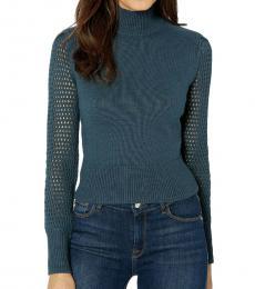 Midnight Teal Turtleneck Crop Sweater Top